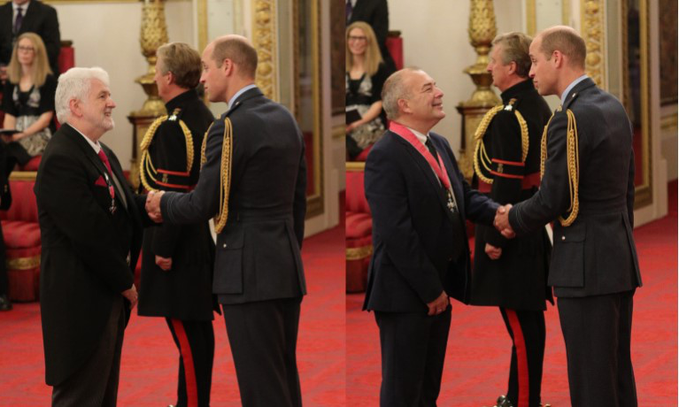 John Latham CBE and Duncan Lawson MBE receiving their honours